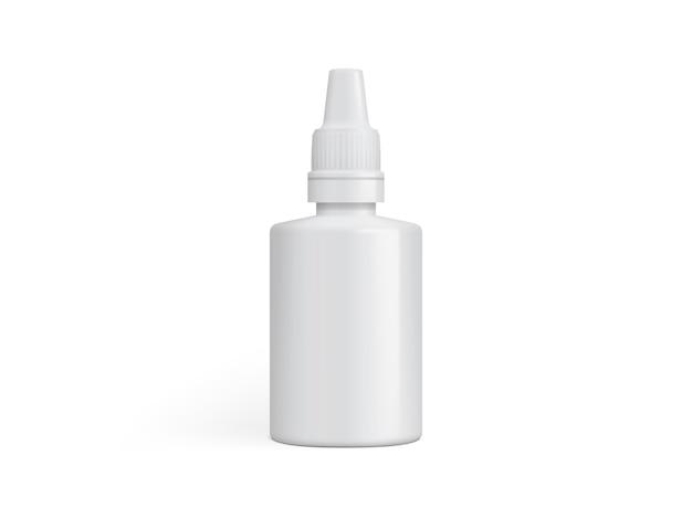 Emballage en plastique blanc pour gouttes médicinales ou colle isolé sur un modèle de fond blanc