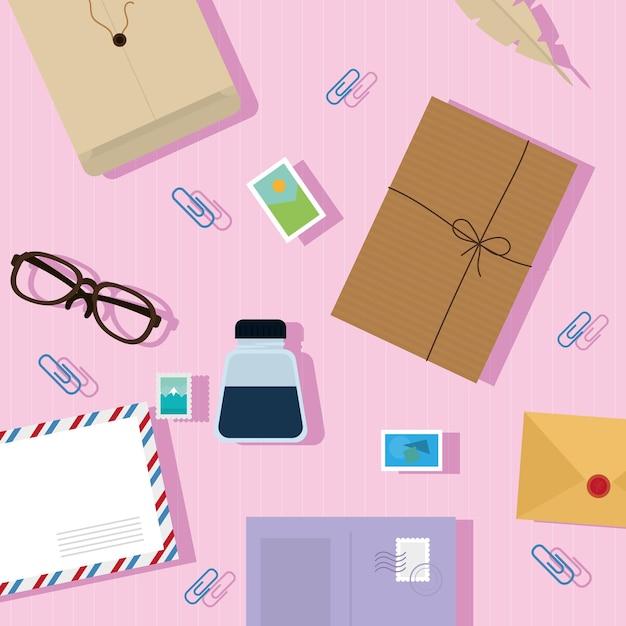 Emballage postal et modèle d'icônes