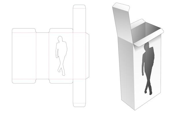 Emballage rectangulaire avec gabarit de découpe de fenêtre en forme d'homme