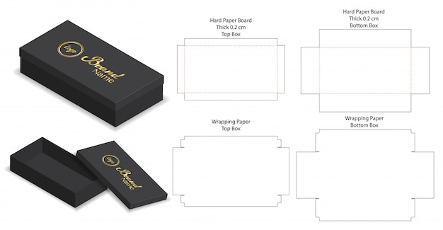 Emballage rigide boîte modèle coupé 3d maquette