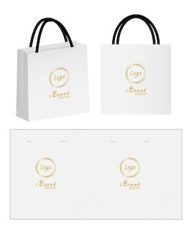 Emballage de sac en papier die-cut et 3d maquette de sac