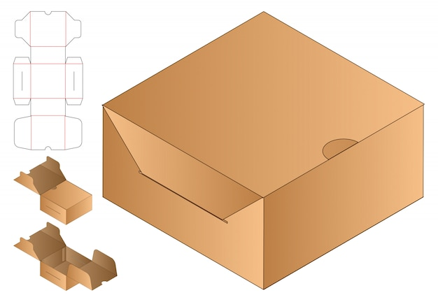 Emballage de sac en papier die cut template 3d