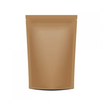 Emballage de sac de sachet en papier vierge avec fermeture à glissière.