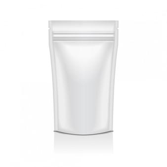 Emballage de sac de sachet de poche de nourriture de papier d'aluminium blanc ou cosmétique doy pack avec fermeture éclair.