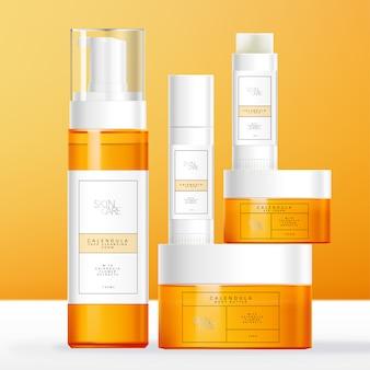 Emballage de soins de la peau, de beauté ou d'articles de toilette à thème de calendula avec tube de baume à lèvres, bouteille et pot moussant orange teinté transparent.