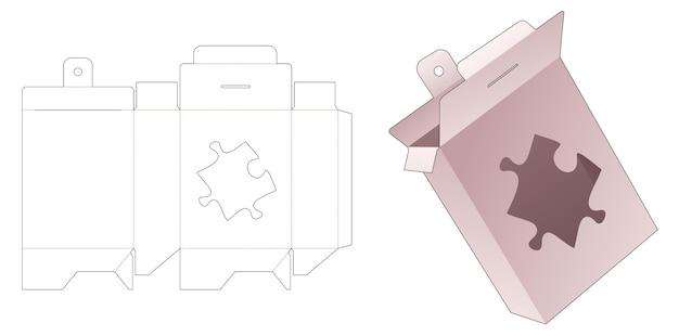 Emballage à suspendre en carton avec gabarit de découpe de fenêtre en forme de scie sauteuse