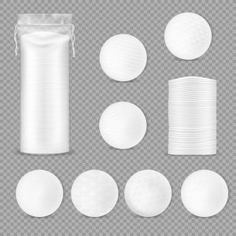 Emballage de tampons de coton, 3d. disques souples dans un emballage en plastique avec des cordes.