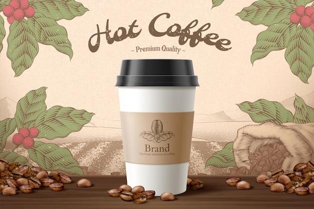 Emballage de tasse à emporter avec étiquette en illustration 3d avec des éléments de grains de café sur une table en bois