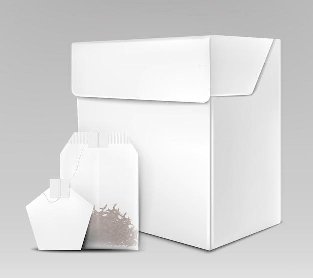 Emballage de thé noir 3d réaliste