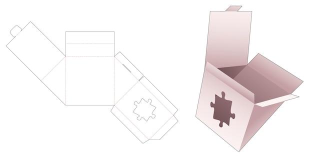 Emballage triangulaire avec gabarit de découpe de fenêtre en forme de scie sauteuse