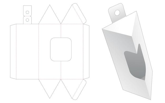 Emballage triangulaire suspendu avec gabarit de découpe de fenêtre