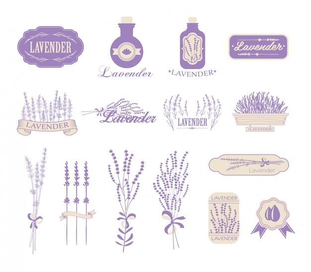 Emballage vintage de lavande, d'aromathérapie et de spa