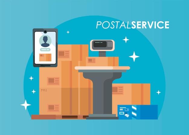 Emballages de boîtes avec style isolé du service postal balance balance