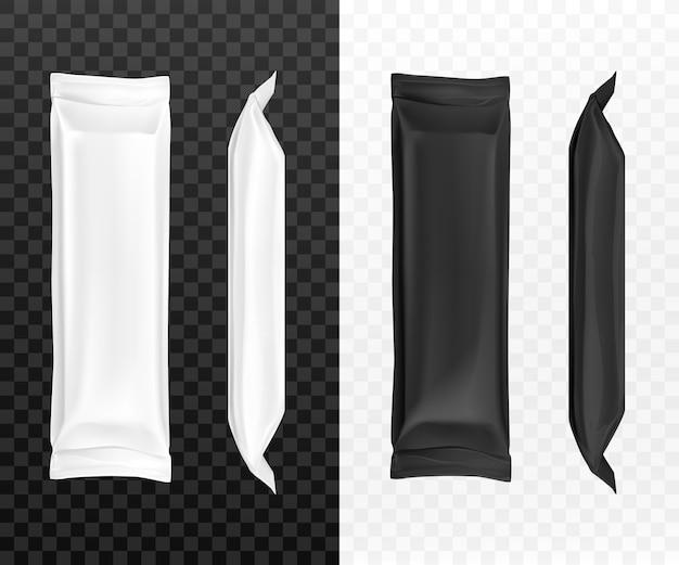 Emballages de bonbons noirs et blancs
