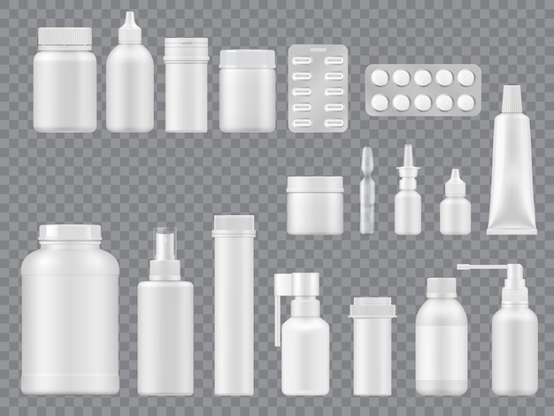 Emballages médicaux et bouteilles sur fond transparent