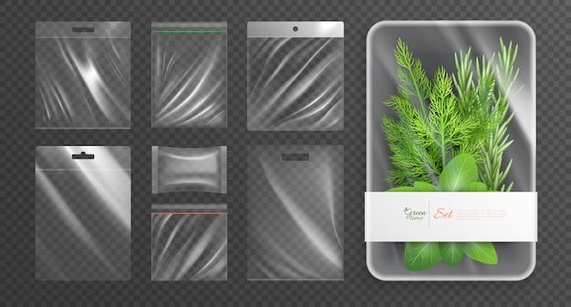 Emballages en plastique polyéthylène emballés ensemble réaliste isolé avec une description de l'heure verte sur l'illustration vectorielle de l'emballage