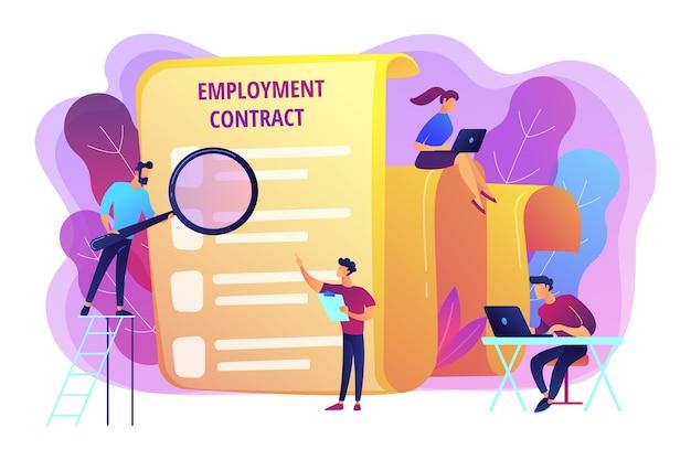 Embauche d'employés. document commercial. gestion des ressources humaines. contrat de travail, formulaire de contrat de travail, concept de relations entre employés et employeurs.