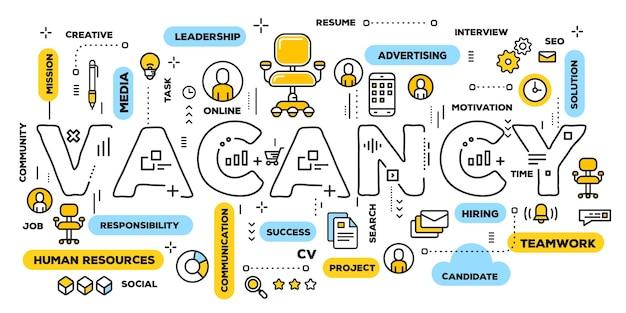 Embauche de personnes concept illustration créative de la typographie de mot de vacance avec des icônes de ligne