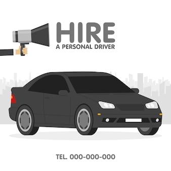 Embauchez un illustrateur de vecteur de modèle d'annonces de chauffeur personnel.