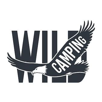 Emblème aigle volant élément nature sauvage animal