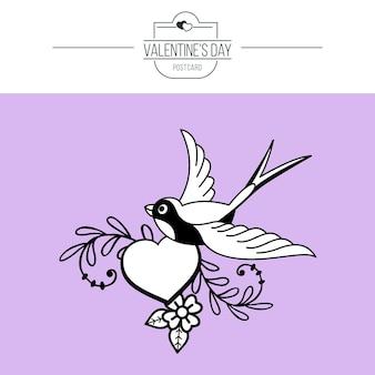 L'emblème de l'amour. coeur et oiseau.