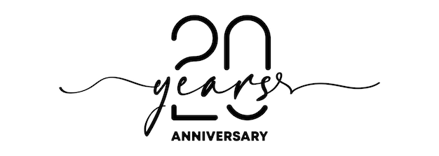 Emblème d'anniversaire de 20 ans. insigne ou étiquette d'anniversaire. 20e élément de conception de célébration et de félicitation. un style de ligne. vecteur eps 10. isolé sur fond.