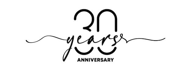 Emblème d'anniversaire de 30 ans. insigne ou étiquette d'anniversaire. 30e élément de conception de célébration et de félicitation. un style de ligne. vecteur eps 10. isolé sur fond.