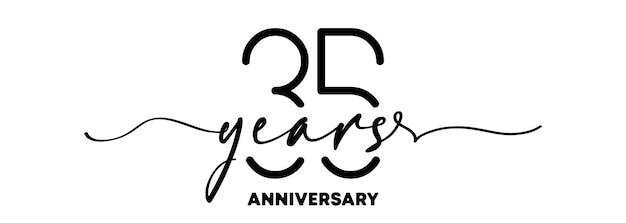 Emblème d'anniversaire de 35 ans. insigne ou étiquette d'anniversaire. 35e élément de conception de célébration et de félicitation. un style de ligne. vecteur eps 10. isolé sur fond.