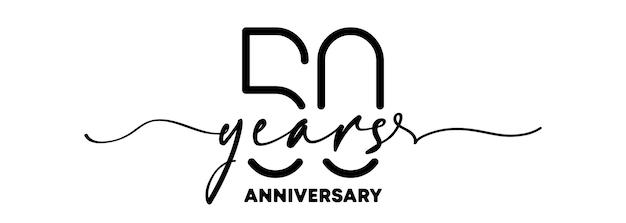 Emblème d'anniversaire de 50 ans. insigne ou étiquette d'anniversaire. 50e élément de conception de célébration et de félicitation. un style de ligne. vecteur eps 10. isolé sur fond.