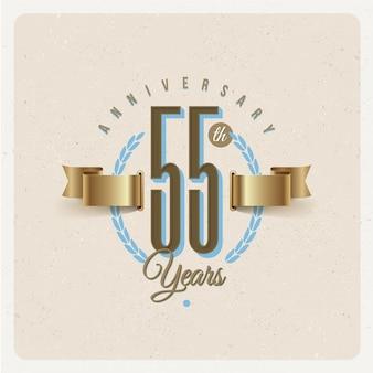 Emblème d'anniversaire vintage 55e ans avec ruban d'or et couronne de laurier - illustration
