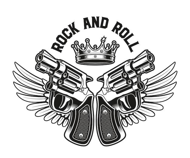 Emblème des armes à feu avec des ailes