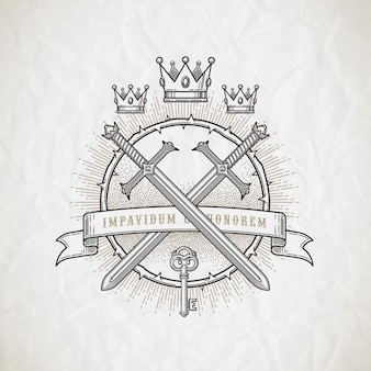Emblème de l'art de la ligne de style de tatouage abstrait avec des éléments héraldiques et chevaleresques - illustration