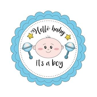 Emblème de baby shower pour accueillir un garçon