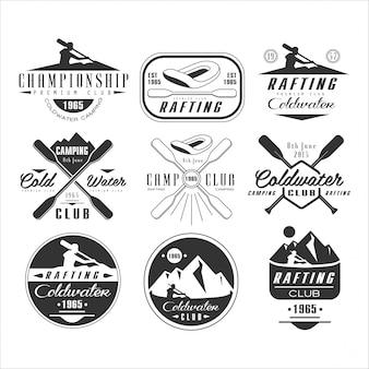 Emblème, badge et logo kayak et canoë