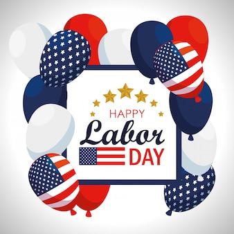 Emblème avec ballons de drapeau américain à la fête du travail