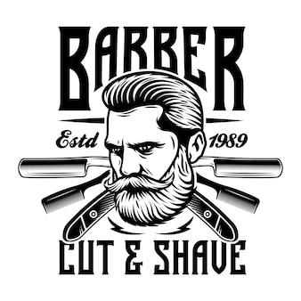 Emblème de barbier homme barbe avec des lames de rasoir et un peigne