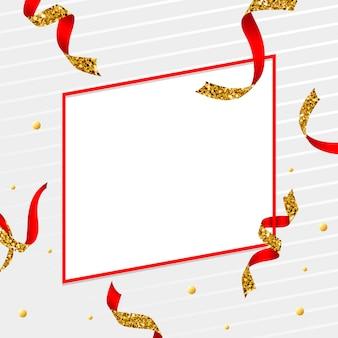 Emblème blanc doré et rouge avec un vecteur de confettis