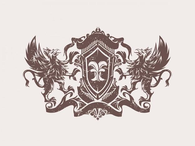 Emblème de blason griffon vintage
