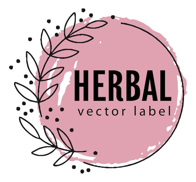 Emblème de botanique à base de plantes et naturel ou vecteur de bannière
