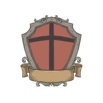 Emblème de bouclier héraldique blanc