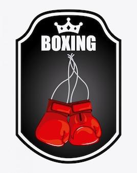 Emblème de boxe logo design graphique