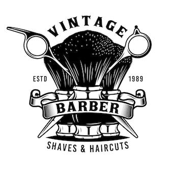 Emblème de brosse et de ciseaux de coiffeur vintage