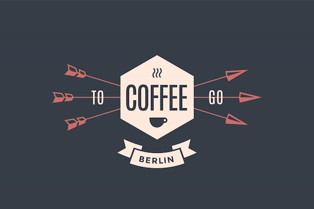 Emblème de café avec des flèches