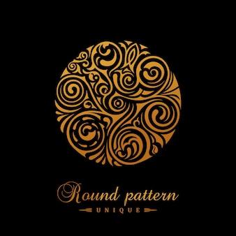 Emblème calligraphique rond en or pour la création de logo de timbre de café
