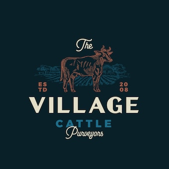 L'emblème calligraphique de village cattle purveyors