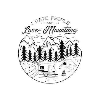 Emblème de camping vintage dessiné à la main