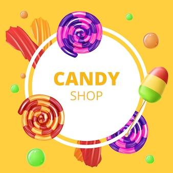 Emblème candy shop sur jaune
