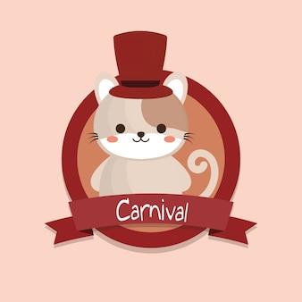 Emblème de carnaval avec chat mignon