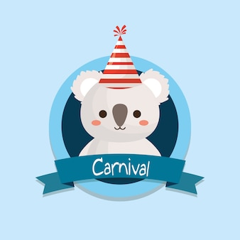 Emblème de carnaval avec koala mignon