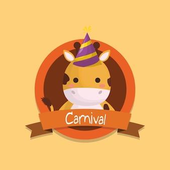 Emblème de carnaval avec mignon girafe